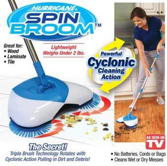 Harga Latest 2017 Hurricane Spin Broom Cordless Triple-Brush Technology Cyclonic Sucking Without Electricity