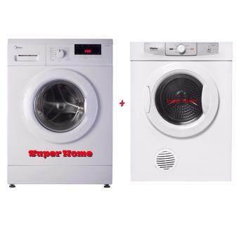 electrolux dryer 6 5kg. midea 8.0kg front loading washer machine mfl80-es1200 (1200rpm) + haier hdy electrolux dryer 6 5kg