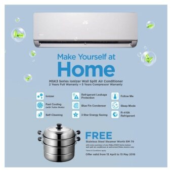 Midea MSK3-09CRN1 1hp with Ionizer Air Conditioner(R410a) + Free Gift Midea Stainless Steel Steamer