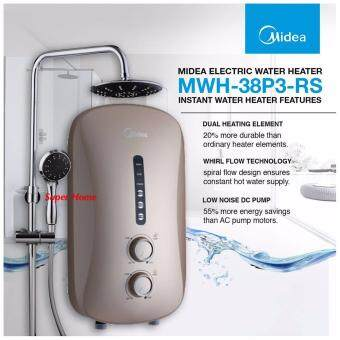 Harga Midea MWH-38P3-RS Rain Shower Water Heater with DC Silent Booster Pump (Imperial Gold)
