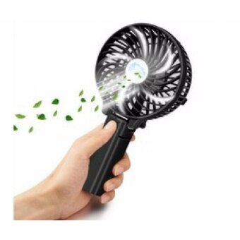 Mini USB Rechargeable Strong Wind Foldable Hand Fan (Black)