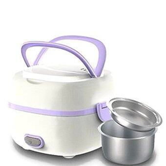 Harga Multifunction Stainless Steel Electric Mini Rice Cooker Lunch Box (Purple)