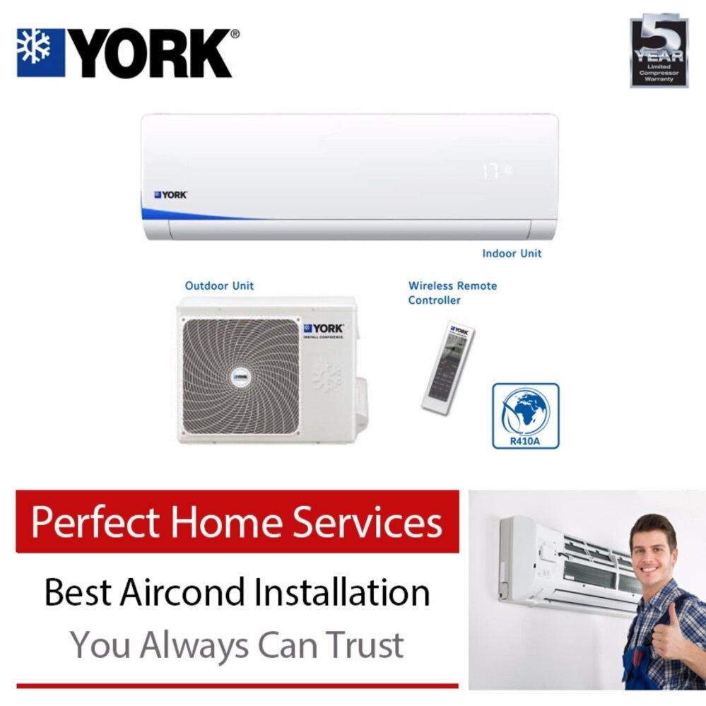 York (R410A) YSL3F10AAS/YWM3F10CAS 1.0HP Wall Split Air Conditioner with Express Aircond Installation Service image on snachetto.com