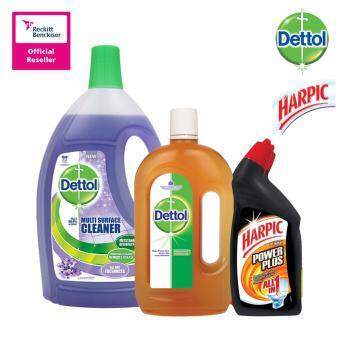 Dettol Multi Action Cleaner Lavender 2.5Litre + Dettol Antiseptic Liquid 1L + Harpic All-In-One 450Ml Twin Pack