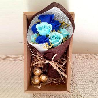 Harga 3pc Ferraro Rocher & mini Soap Rose Bouquet Gift set ( Blue)