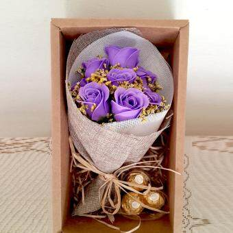 Harga 3pc Ferraro Rocher & mini Soap Rose Bouquet Gift set (Purple)