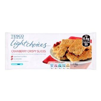Harga Tesco Light Choices Cranberry Crispy Slices 218g