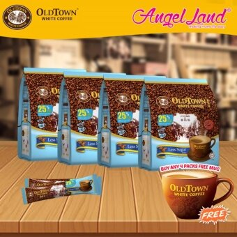 Harga OldTown White Coffee 3 in 1 Instant Premix White Coffee x 4PacksLess Sugar + Free Coffee Mug