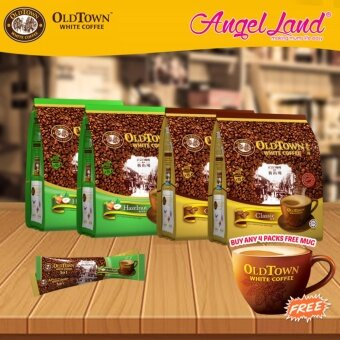 Harga OldTown White Coffee 3 in 1 Instant Premix White Coffee x2PacksClassic + x2Packs Hazelnut + Free Coffee Mug