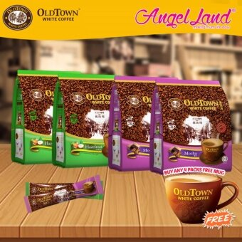 Harga OldTown White Coffee 3 in 1 Instant Premix White Coffee x2PacksHazelnut + x2Packs Mocha + Free Coffee Mug