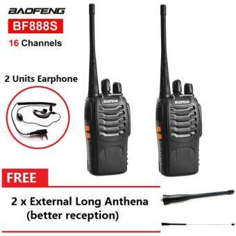 1 Pair BaoFeng BF-888S 16 Channel Walkie Talkie Set UHF 5W With Earphones FREE 2 x External Long Anthena