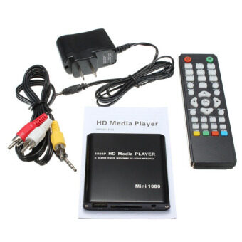 Harga 1080P Mini HDD Media Player MKV H.264 RMVB Full HD with HOST USB/SDCard Reader Black