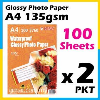 2 Packs NISO Glossy Photo Paper A4 Size 100 Sheets 135g / 100's Waterproof 135gsm (Each Pack 100 Sheets) I JIMAT
