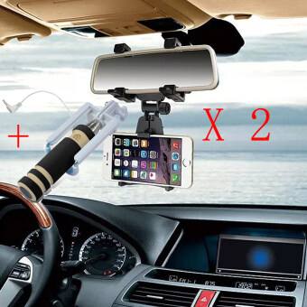 2 Pcs Universal Car Rearview Mirror Mount Holder Car Mobile PhoneHolder Stand Cradle For iPhone 6 6s 7 For MP4 GPS PDA Black