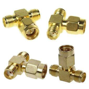 Harga 2pcs connector 3 way adapter SMA male to two SMA female triple T RFadapter
