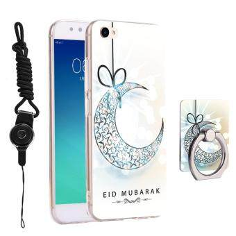 3 in 1 Cute Phone Case 3D Relief Pattern Back Cover for BBK Vivo V5Y67 with Phone Lanyard Ring Holder Kickstand
