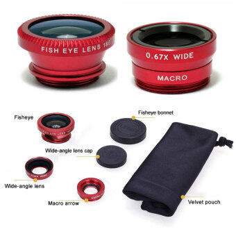 Harga 3 In 1 Fish Eye + Wide Angle + Macro Camera Lens Kit For MobileCell For iPhone