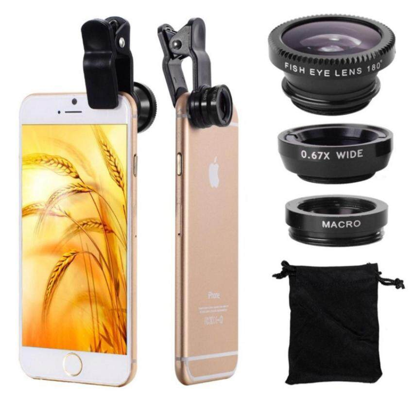 3 In 1 Mobile Phone Macro Fish Eye Lens Universal Wide Camera Lenses for Samsung Galaxy S8 S3 S5 Vivo Oppo Xiaomi Smart Phone - intl