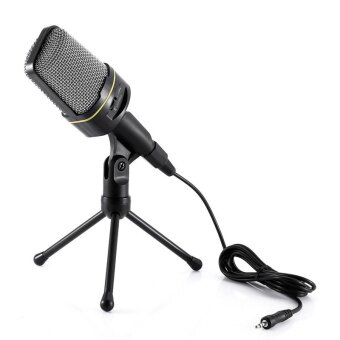 Harga 3.5mm Jack Dynamic Condenser Sound Studio Recording Computer MicMicrophone with Tripod Stand Holder for PC Laptop Desktop GamingSkype MSN