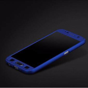 360 Degree Full Body Protection Cover Case With Tempered Glass for Samsung Galaxy J3 2016 (Blue)