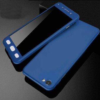 360 Degree Full Body Protection Cover Case With Tempered Glass forOppo A57 (Blue)