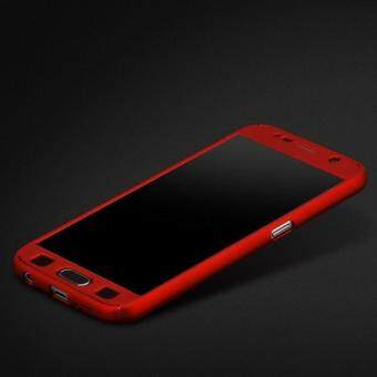 Harga 360 Degree Full Body Protection Cover Case With Tempered Glass forSamsung Galaxy Note 4 (Red)