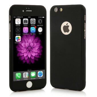 360 Degree Full Body Protection Cover Show Logo Case With Tempered Glass For iPhone 5/5S/5SE (Black)