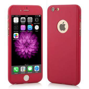 360 Degree Full Body Protection Cover Show Logo Case With Tempered Glass For iPhone 5/5S/5SE (Red)