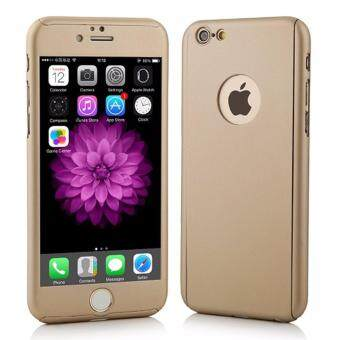 360 Degree Full Body Protection Cover Show Logo Case With TemperedGlass For iPhone 6/6S (Gold)