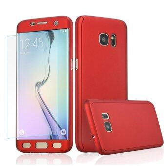 Harga 360 Full Body Coverage Protection Hard Slim Ultra-thin Hybrid CaseCover with Tempered Glass Screen Protector for Samsung Galaxy NOTE4 (Red)