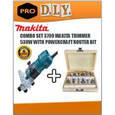 makita router 3709. 3709 makita trimmer 530w combo with powercraft router bit set makita router