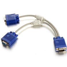 6 Inch 1 Male To 2 Dual Female PC VGA HD15 Monitor Y Splitter Adapter Cable- Malaysia