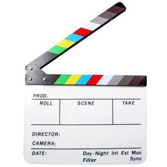 Acrylic Clapboard Dry Erase Director Film Movie Clapper Board Slate9.6 x 11.7 inch with Color Sticks - 2
