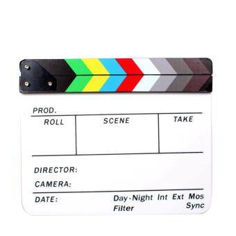 Acrylic Clapboard Dry Erase Director Film Movie Clapper Board Slate9.6 x 11.7 inch with Color Sticks