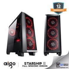 Aigo Starship 2 (Black) Full Window (Casing + 3pcs Eclipse LED Fan - Optional Fan color) [ATX, Matx, Mini-ITX] Malaysia