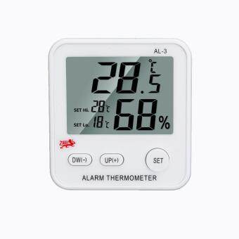Harga AL-3 LCD Digital Temperature Humidity Meter Clock Alarm ThermometerHygrometer