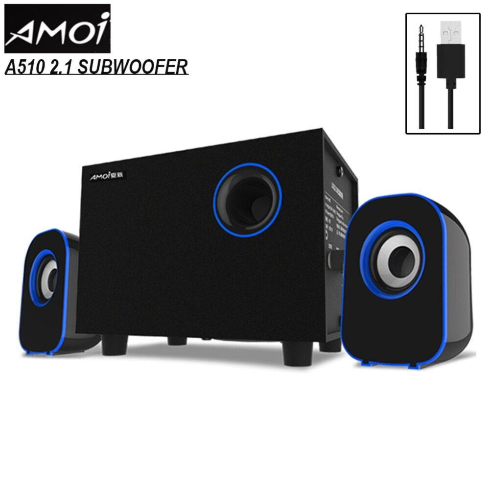 AMOI [SP49] A510 USB 2.1 Subwoofer Computer 3D Bass Stereo Speaker with Bass Adjustable Switch Malaysia