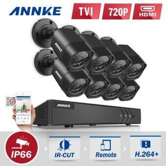 Harga ANNKE 1 Megapixel 720P 8 Bullet Cameras & 8 Channels DVR System NO Pre-installed Hard Drive 4-in-1 TVI AHD Analog IP - Motion Detection, Email Alert, P2P Remote Mobile Monitoring