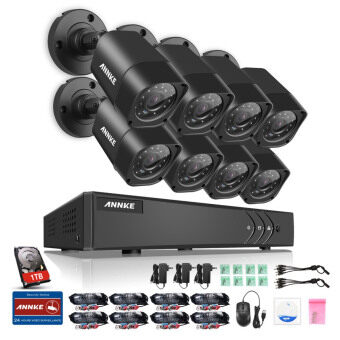 Harga ANNKE 1 MP 720P 8 Bullet Cameras CCTV 1TB TOSHIBA HDD DVR Kits Security System - Indoor Outdoor Night Vision Desktop & App Remote Monitoring Motion Detect Alert