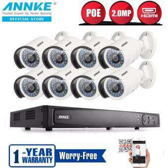 Harga ANNKE 2MP 1080P POE IP 8 Bullet Cameras & 8 Channels NVR Advanced System Indoor Outdoor Fixed Super Day Night Vision Security Camera