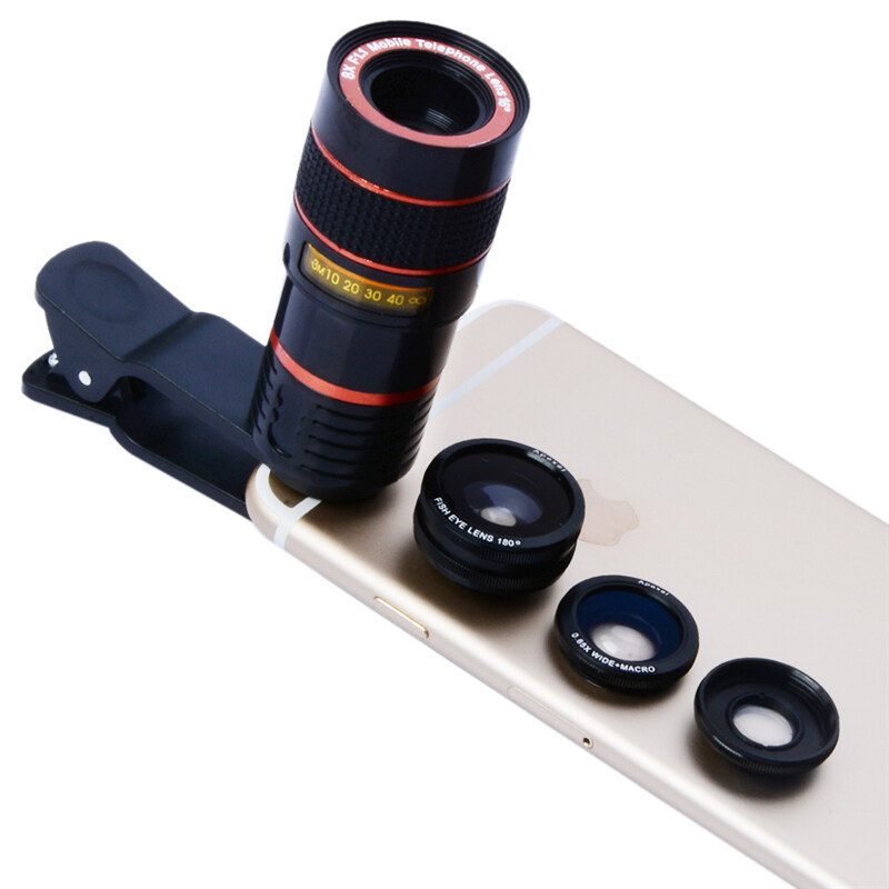 APEXEL 4 in1 8X Telephoto Telescope Clip 180 Degrees Fisheye WideAngle Macro Photo Zoom Lens Kit For HTC iPhone Android Phones 19cx3