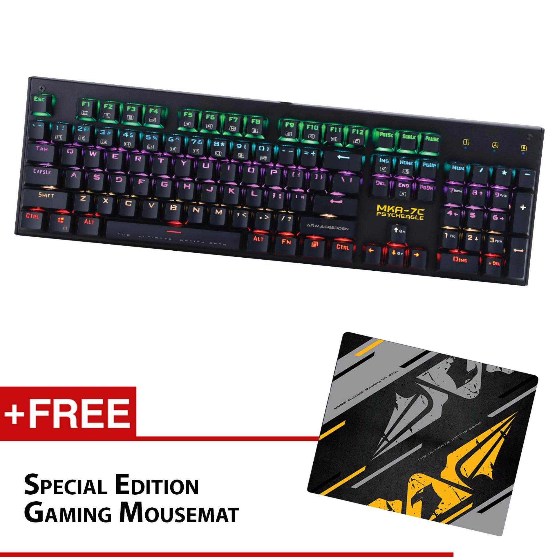 Armaggeddon MKA-7C Multicolor LED Lights Mechanical Gaming Keyboard (Black-Blue Switches) Free SE Mousemat Malaysia