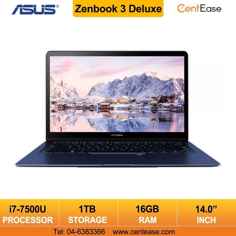 Asus Zenbook 3 Deluxe Laptop 14 inch i7 W10 16GB 1TB (UX490U-ABE049T) Blue Malaysia