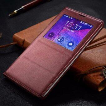 Asuwish Leather Phone Case For Samsung Galaxy Note4 Smart View Auto Sleep