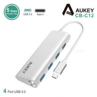 Harga Aukey Aluminum 4-Port USB 3.0 Hub with Type-C Adapter CB-C12 -Silver AUKEY-CB-C12