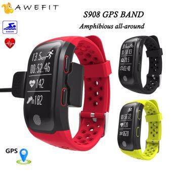 Harga AWEFIT S908 Heart Rate waterproof Smart Wristband REAL GPS TrackRecord Smart Band Fitness Tracker Smart Watch