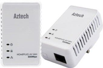 Aztech HL117E Homeplug AV 500Mbps MINI Ethernet Adaptor (Twin)