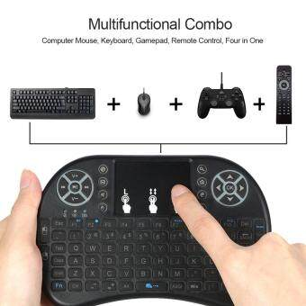 Harga Backlit 2.4GHz Wireless Keyboard Air Mouse Touchpad Handheld Remote Control Backlight for Android TV BOX PC Smart TV Black