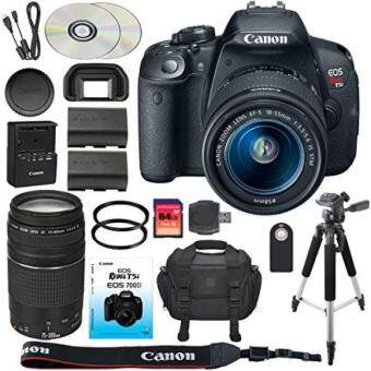 Canon EOS Rebel T5i/700D DSLR Camera + 18-55mm IS STM Portrait Lens + EF  75-300mm III Telephoto Lens + Spare LP-E8 + Camera Case + Remote + 64GB  SDXC