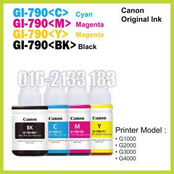Harga Canon Original Ink (GI-790 Cyan / Magenta / Yellow / Black) //Canon Printer G1000 / G2000 / G3000 / G4000